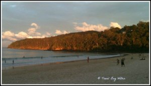 As the sun sets over Noosa National Park, people linger.