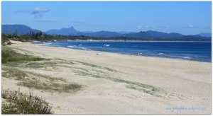 the sandy beaches at Byron Bay
