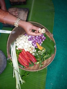 Our cooking lesson with fresh ingredients