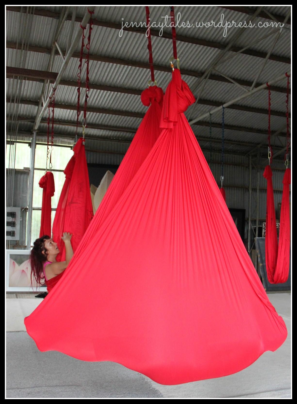 Cocooned anti gravity yoga