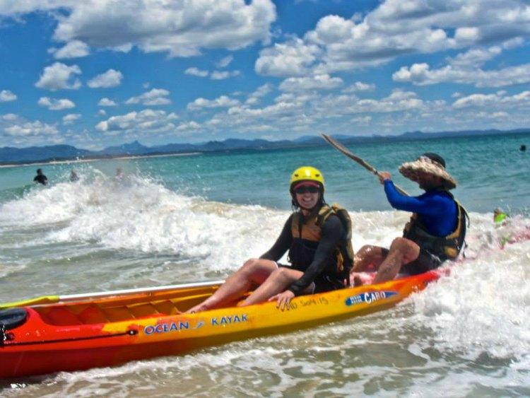 Jen with Chris (Guide) Sea Kayaking Byron Bay