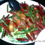 """The Spice Temple's Hunan Style Crisp pork Belly with mushroom and  just a """"few"""" dried and fresh chillies."""