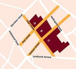 Map Graham Street Market showing areas zoned for re-development