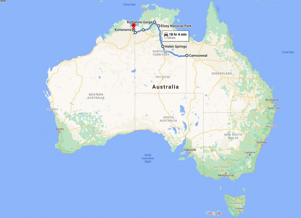 Image of a map of Australia with points on interest and lines showing roads from one regional town to another