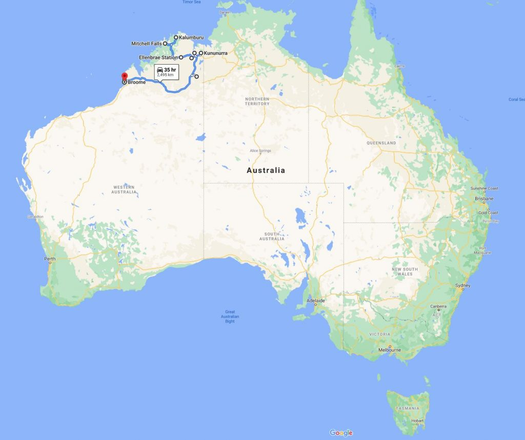 Image of a map of Australia with a section from Broome to Kunnnunurra highlighted showing the road