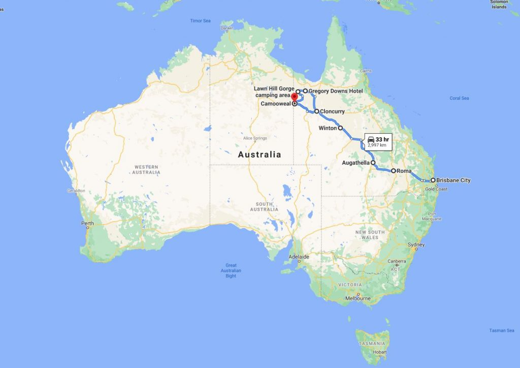 Image of a map of Australia on Google Maps showing points of interest in the state of Queensland