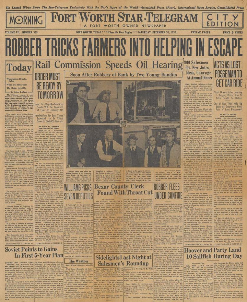 A framed old newspaper clipping framed with a astory about the infamous Bonnie and Clyde