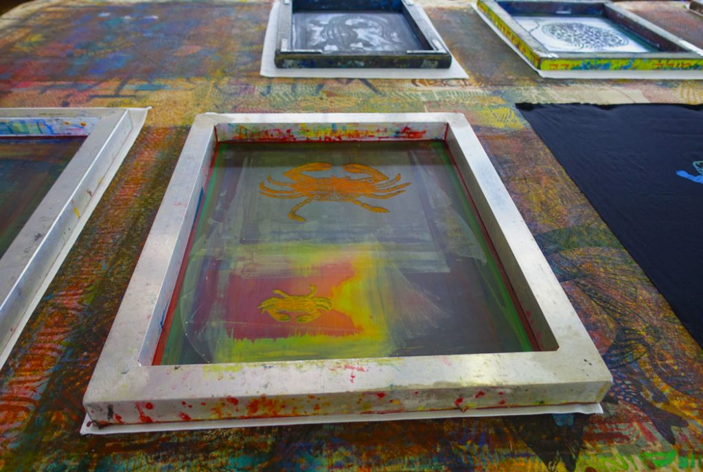 Image of a frame of a screen print design on a table