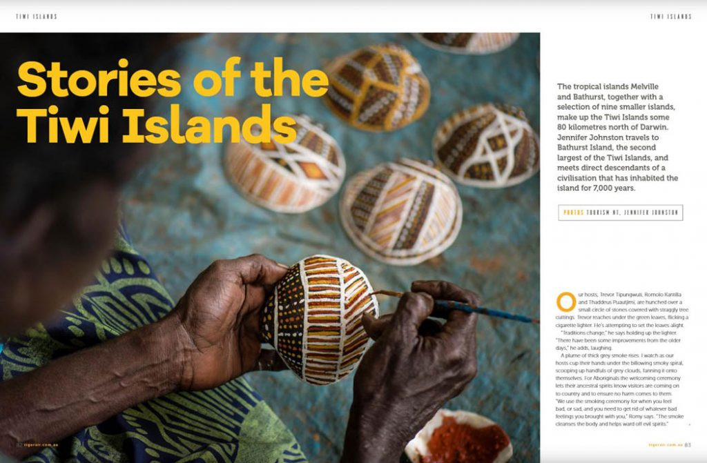 Image of a page from a flight magazine showing the first page of a story on the Tiwi Islands