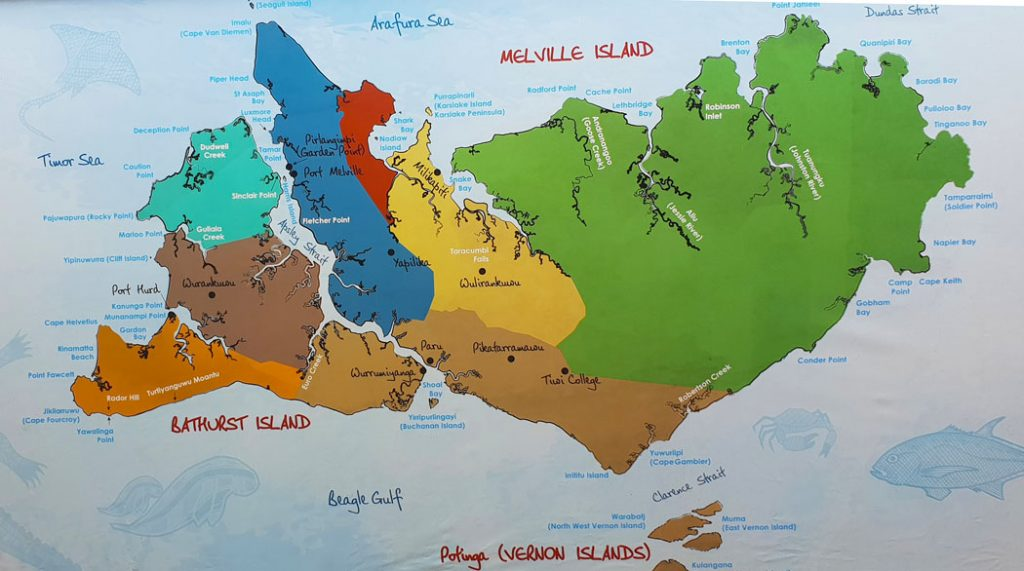 Image of a map showing the islands that make up the Tiwi Islands