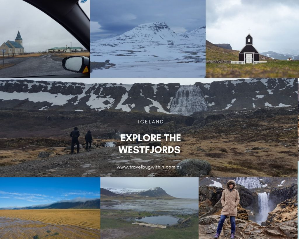A collage of images showing the highlights of a region in Iceland