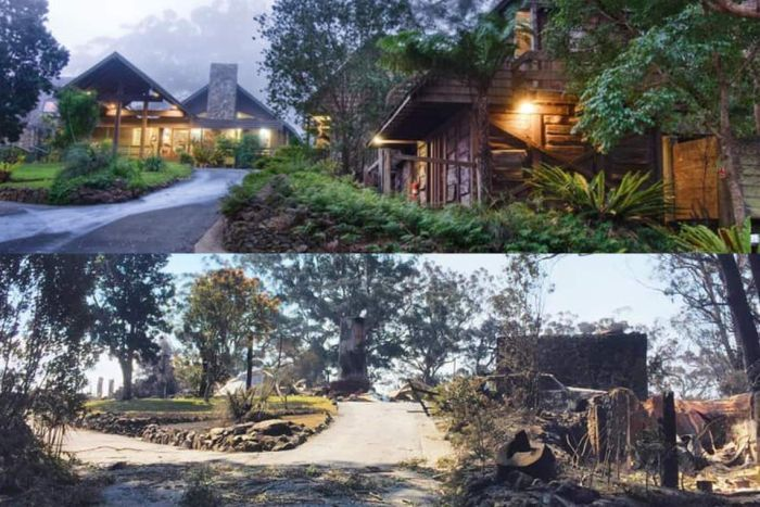 Image showing the before and after pictures of a timber lodge whihc was destroyed by bushfire