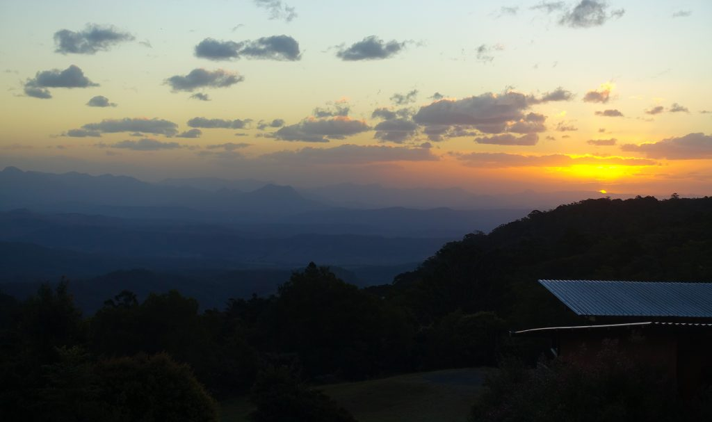 Sunset over mountains in Lamington National Park