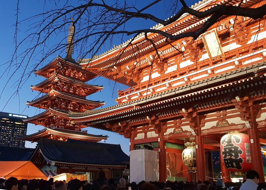 Image of a Japanese Shinto Temple with a four tier pagoda in the background