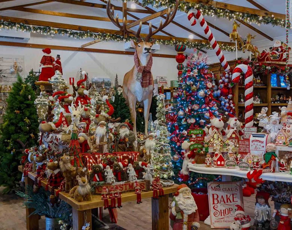 Image of a Christmas store packed with Christmas decorations
