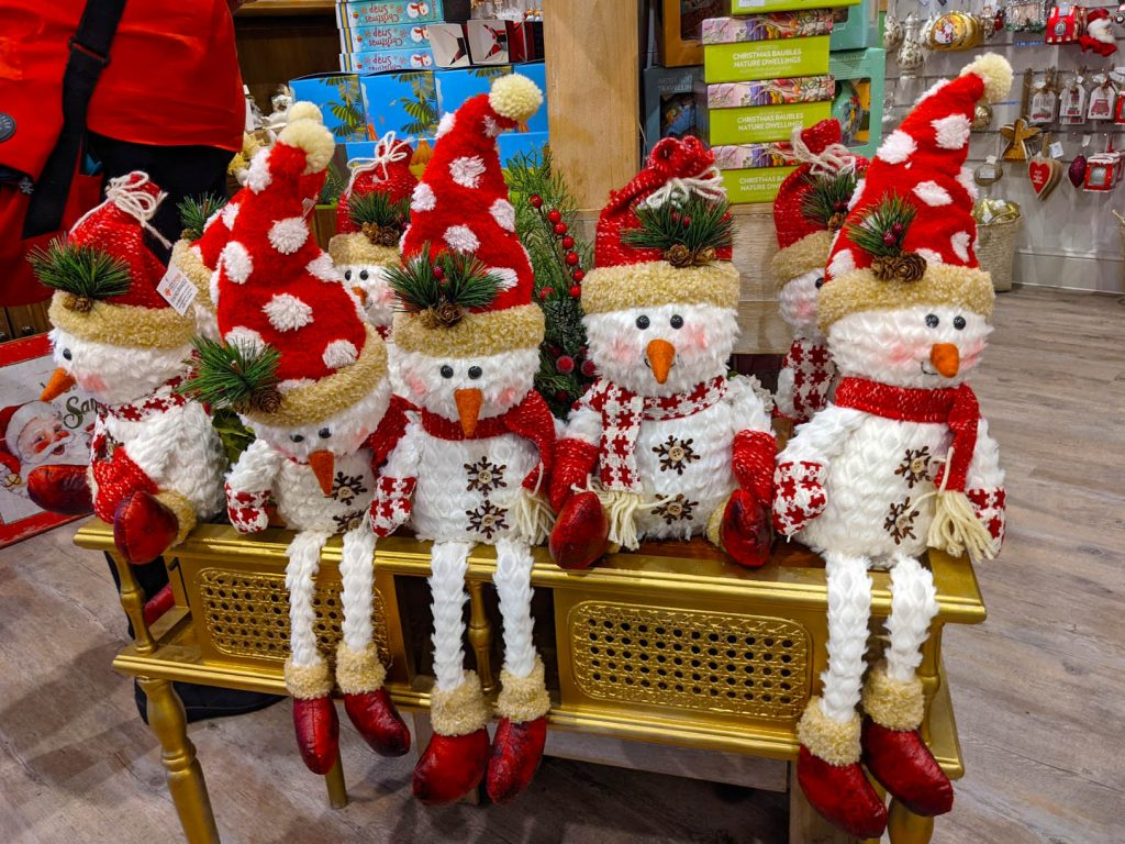 Image of Christmas decorations five material soft toys with santa hats