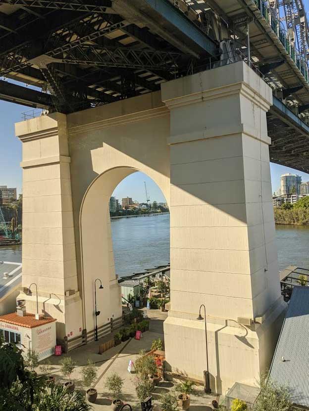 Image of the pillars holding up a large bridge